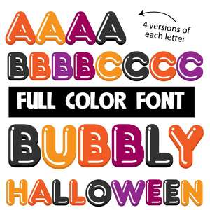 bubbly halloween color font
