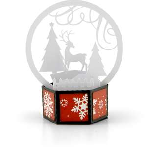 3d snow globe card deer
