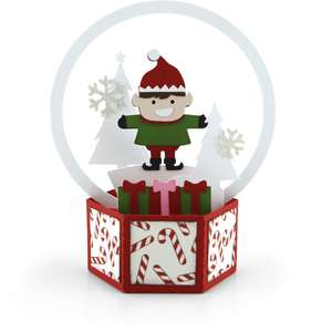 3d snow globe card elf
