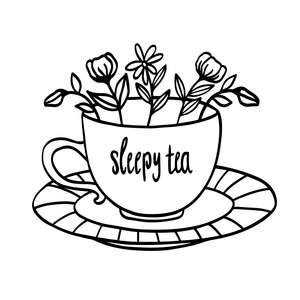 sleepy tea with flowers