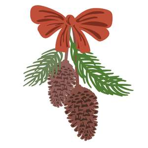 pinecones with bow
