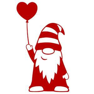 gnome with heart balloon