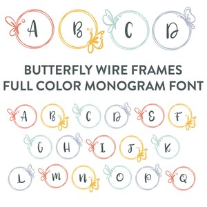 butterfly frames full color monogram font