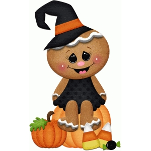 gingerbread witch with candy halloween