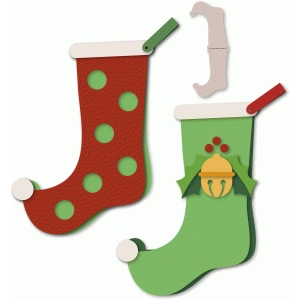 stocking shaped card pair polka dot/bell