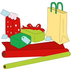 presents, wrap and a shopping bag