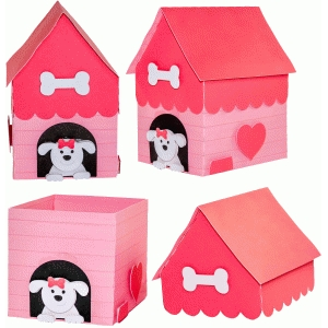 girl dog house box