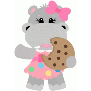hippo girl eating cookie