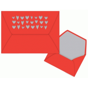 hearts envelope 5x7