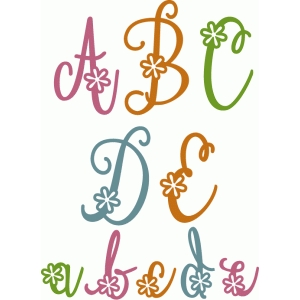 cute flourish flower alpha a-e