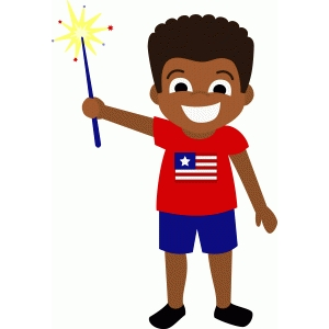 patriotic boy with sparkler