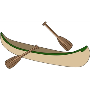canoe and paddles
