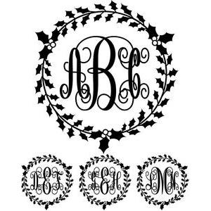 monogram elaborate script - holly wreath