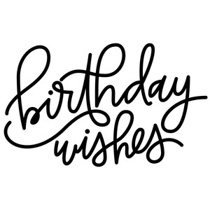 birthday wishes hand lettered phrase