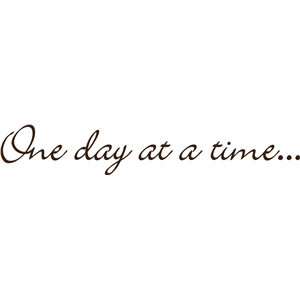 one day at a time...