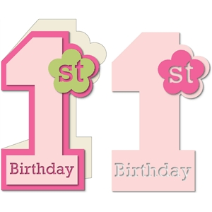 baby girl first birthday card