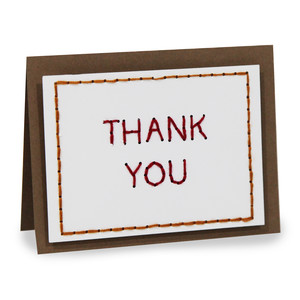 embroidery folded card - thank you