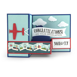 pop up box card airplane graduation