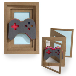accordion shadow box card - video game