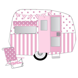 pink retro camper trailer