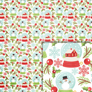 christmas snowglobes background paper