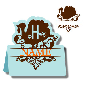 monogram place card & nameplate - turkey h