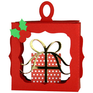 christmas present with bow hanging ornament