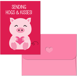 valentine print and cut pig