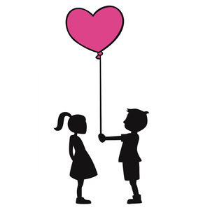 kid couple with heart balloon