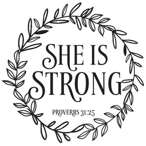 she is strong bible quote wreath