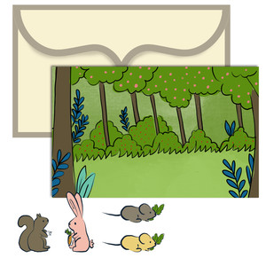 paper doll scene set - woodland animals