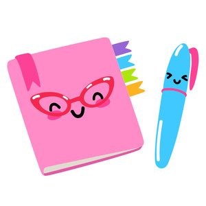 kawaii school planner and pen