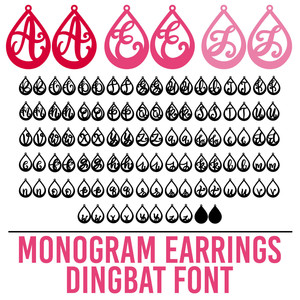monogram earrings dingbat font