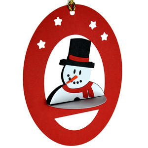 snowman 3d oval hanging ornament