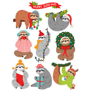 christmas sloth stickers