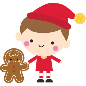 elf with gingerbread man