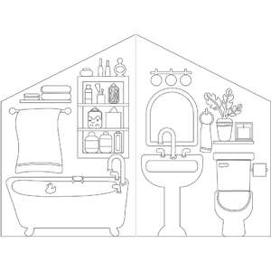 coloring book paper dollhouse bathroom