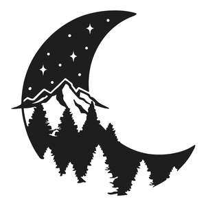 mountain scene moon