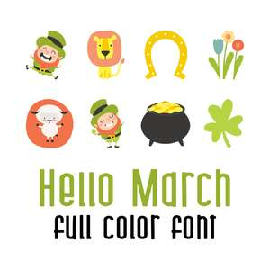 hello march full color font