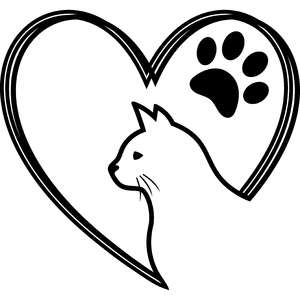 cat and paw heart lines