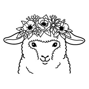 sheep with flower crown