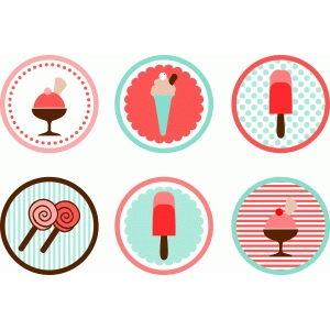 6 ice cream tags toppers