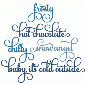 baby it's cold, hot chocolate, frosty words