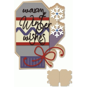 mitten shaped winter warm wishes5x7 card