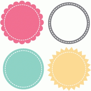 set of 4 stitched circle mats & frame