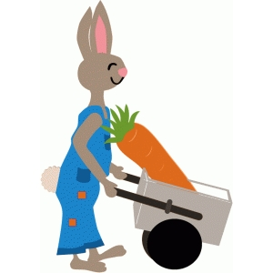 bunny with wheelbarrow