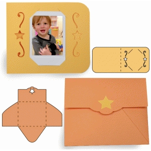 instant photo star card and envelope