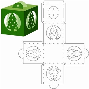 Christmas tree cube ornament