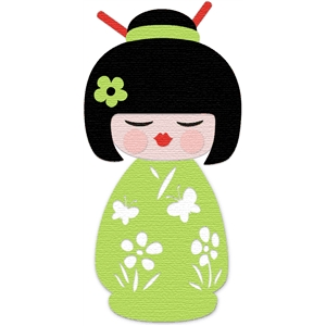 'cuttable' Asian kokeshi doll