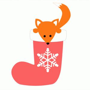 christmas stocking with fox